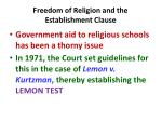 freedom of religion and the establishment clause1