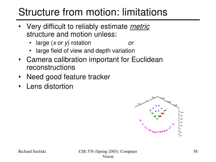 Structure from motion: limitations