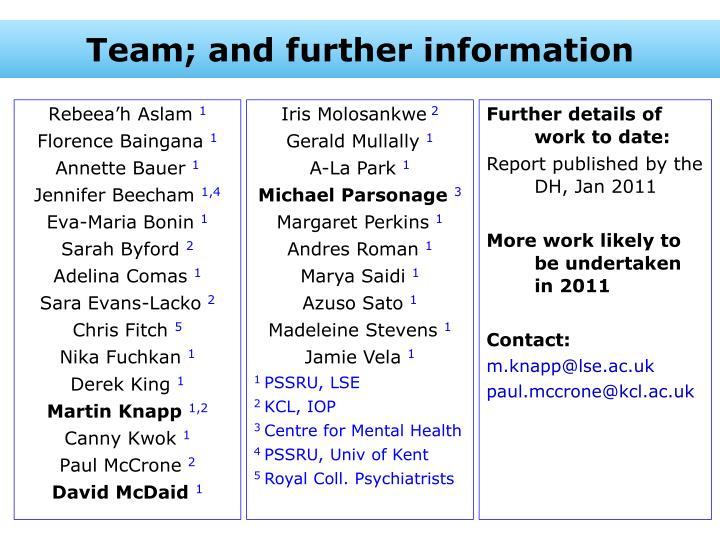 Team; and further information