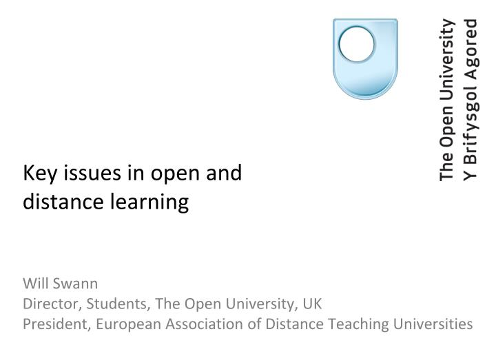 key issues in open and distance learning n.