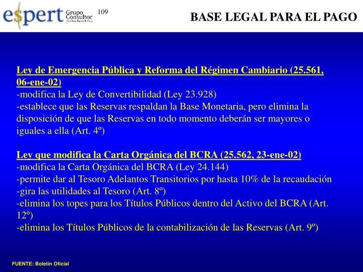 BASE LEGAL PARA EL PAGO