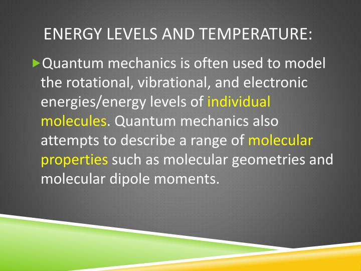 energy levels and temperature n.