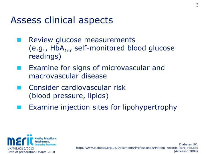 Assess clinical aspects