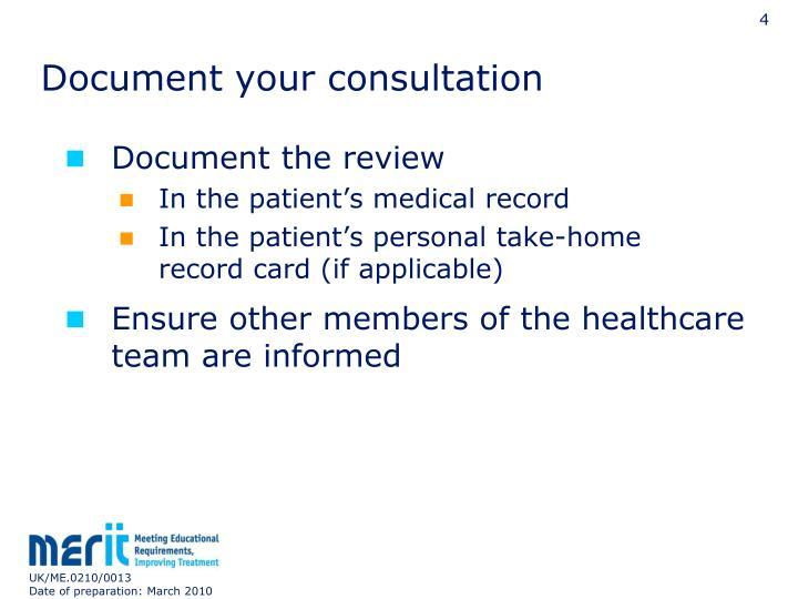 Document your consultation