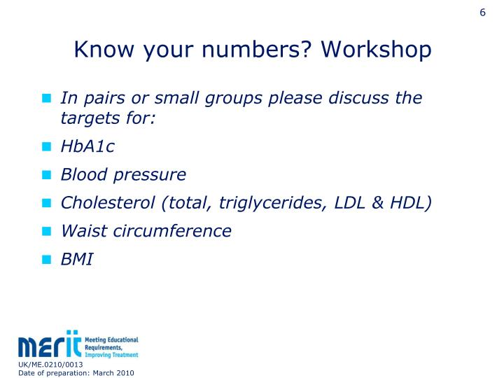 Know your numbers? Workshop