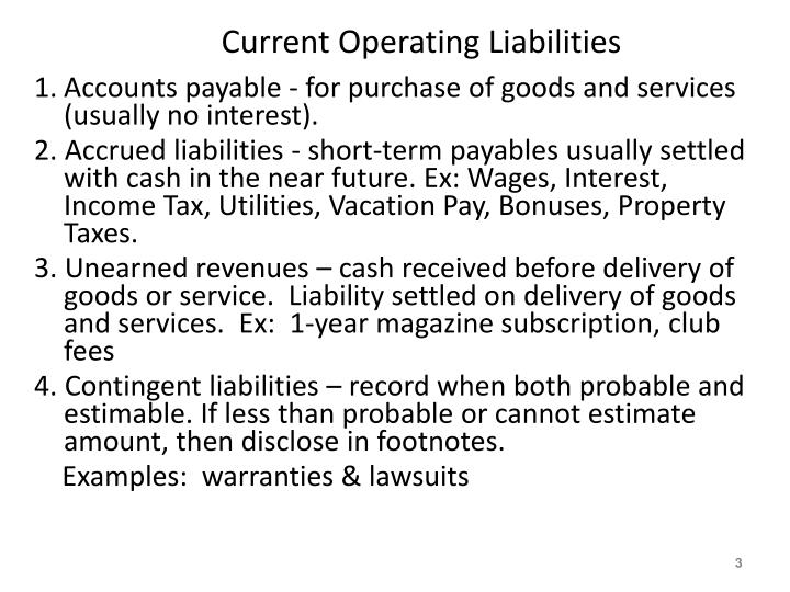 Current operating liabilities