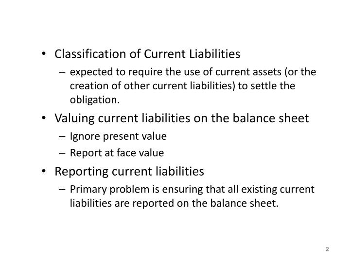 Classification of Current Liabilities