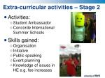 extra curricular activities stage 2