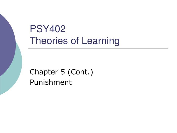 psy402 theories of learning n.