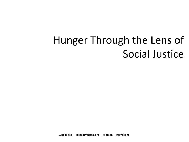 hunger through the lens of social justice n.