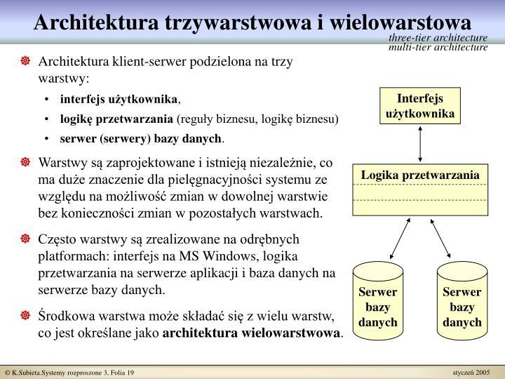Architektura trzywarstwowa i wielowarstowa