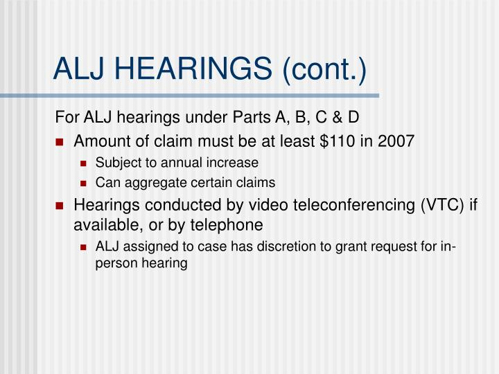 ALJ HEARINGS (cont.)
