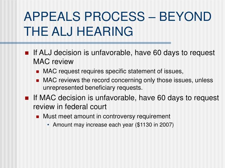 APPEALS PROCESS – BEYOND THE ALJ HEARING