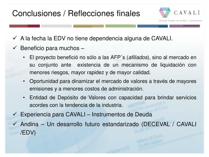 Conclusiones / Reflecciones finales