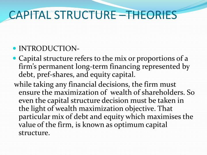 capital structure theories n.
