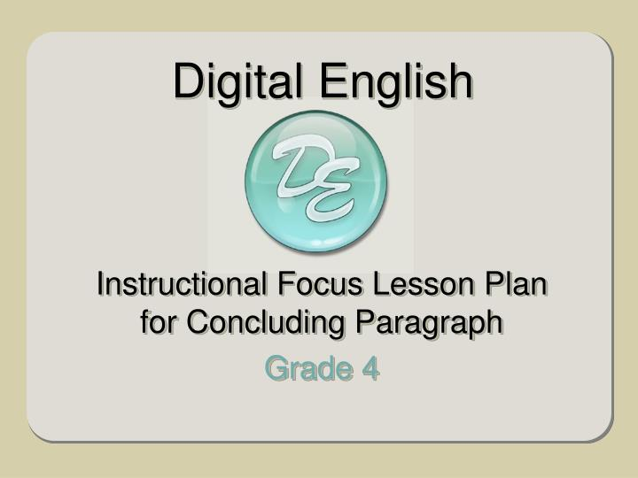 instructional focus lesson plan for concluding paragraph grade 4 n.