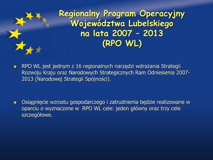 Regionalny program operacyjny wojew dztwa lubelskiego na lata 2007 2013 rpo wl