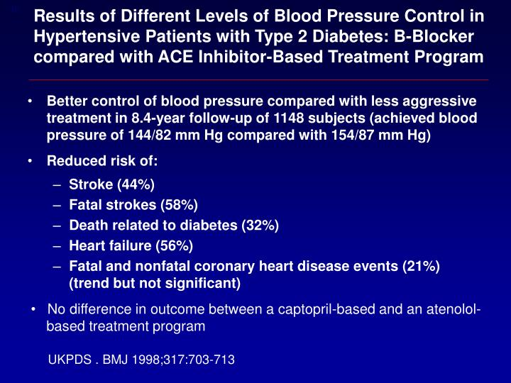Results of Different Levels of Blood Pressure Control in Hypertensive Patients with Type 2 Diabetes: B-Blocker compared with ACE Inhibitor-Based Treatment Program