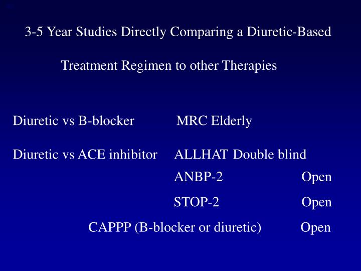 3-5 Year Studies Directly Comparing a Diuretic-Based