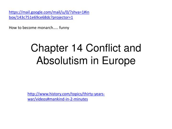 chapter 14 conflict and absolutism in europe n.