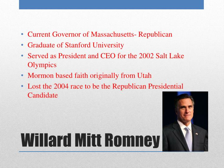 Current Governor of Massachusetts- Republican