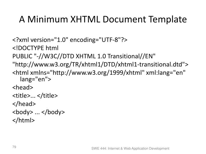 A Minimum XHTML Document Template