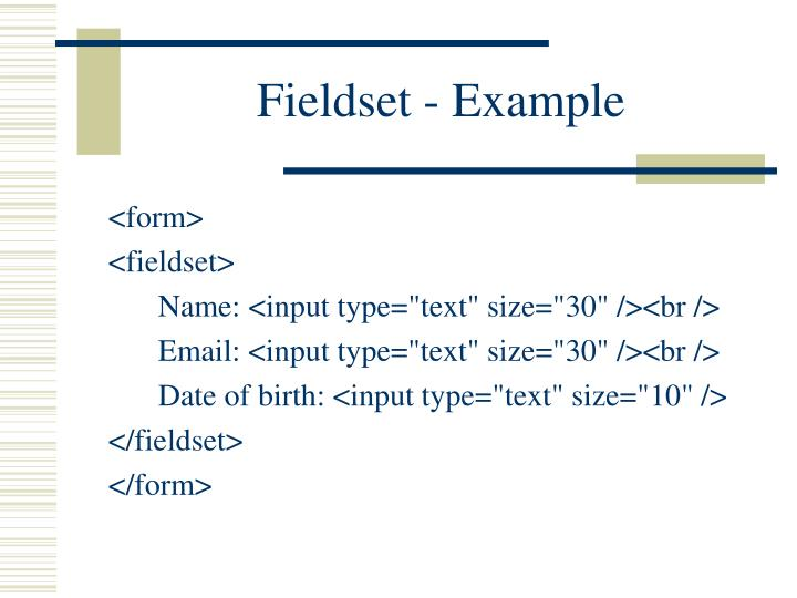 Fieldset - Example