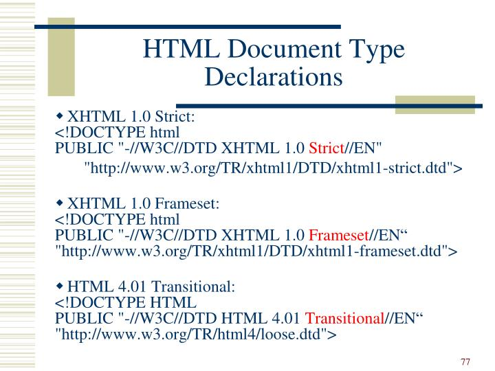 HTML Document Type Declarations