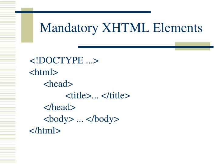 Mandatory XHTML Elements