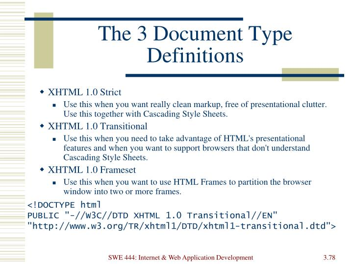 The 3 Document Type Definitions