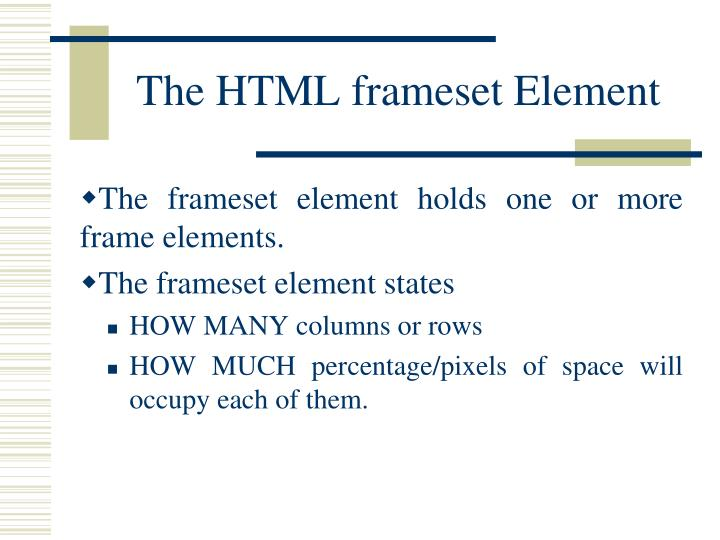 The HTML frameset Element