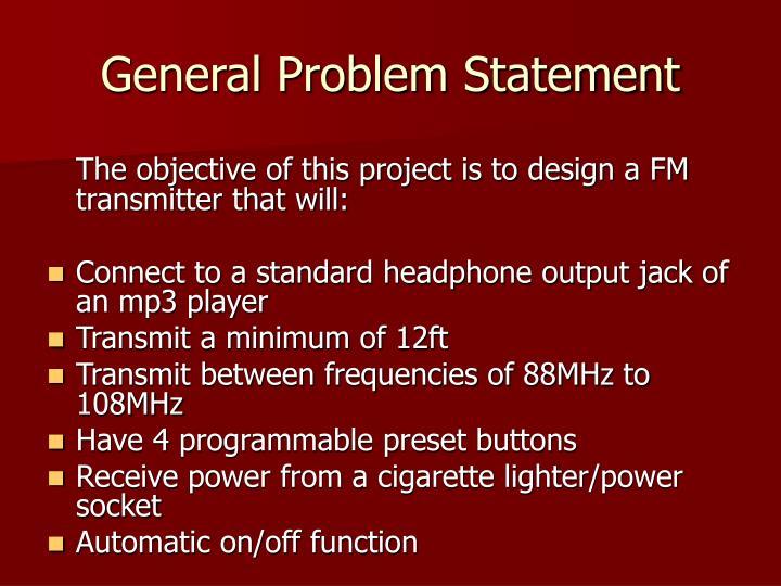 General problem statement
