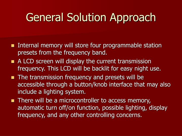General Solution Approach