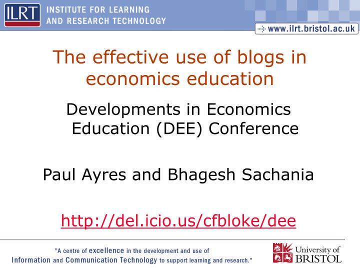 the effective use of blogs in economics education n.