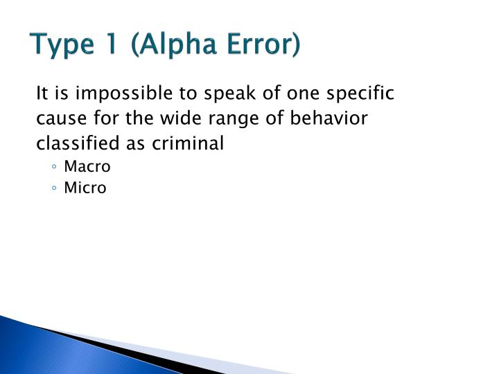 Type 1 (Alpha Error)