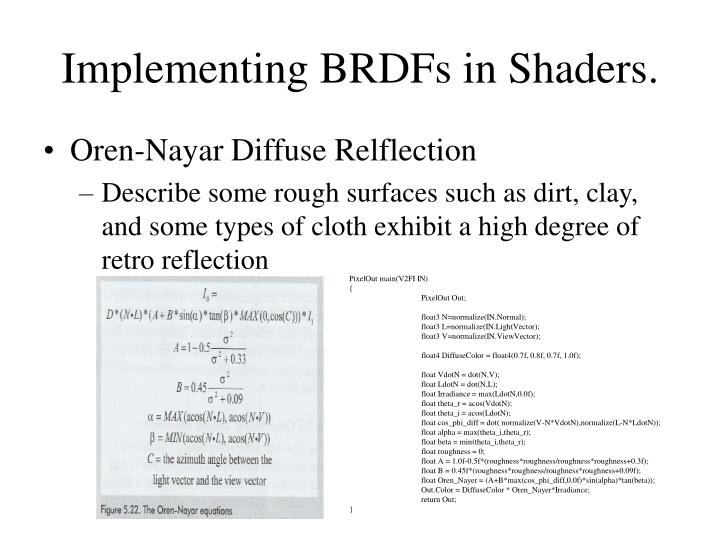 Implementing BRDFs in Shaders.