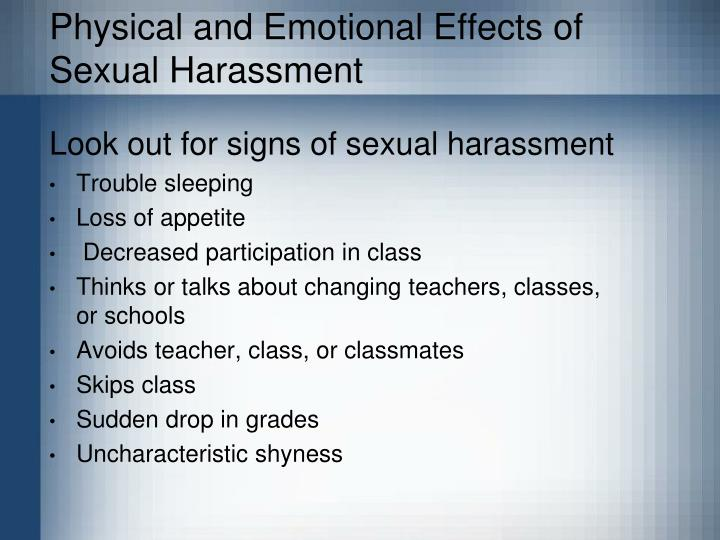 the emotional physical and verbal effects of sexual harassment