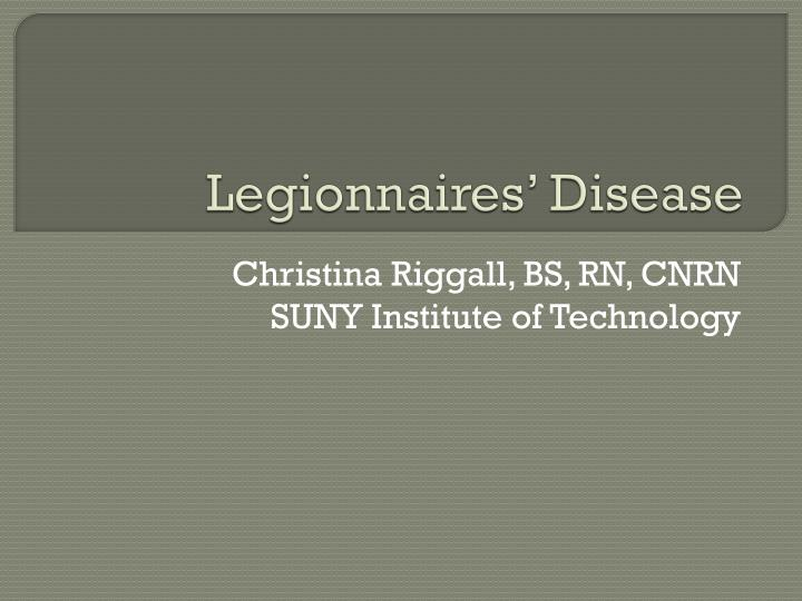 legionnaires disease essay Legionnaires' disease is an acute respiratory infection caused by a common bacteria that results in a serious case of pneumonia it first became a well-known disease in 1976 when a serious outbreak occurred among a large number of people attending an american legion convention.