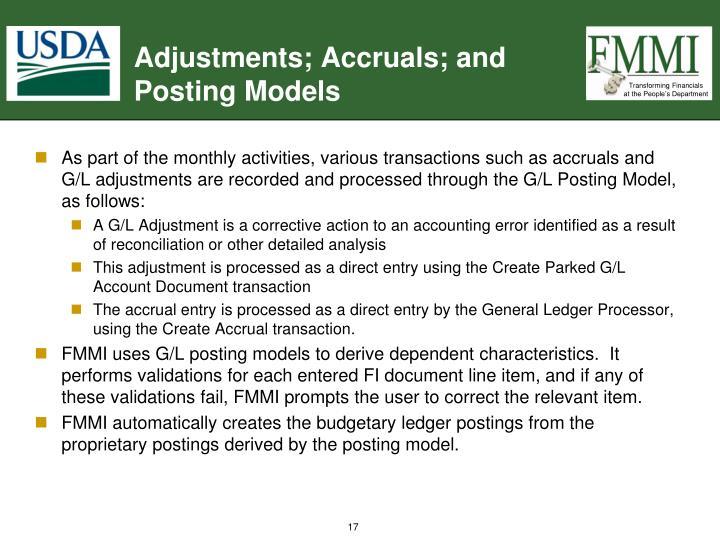 Adjustments; Accruals; and Posting Models