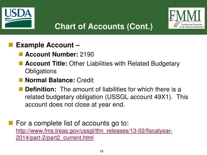 Chart of Accounts (Cont.)