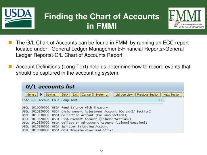 Finding the Chart of Accounts