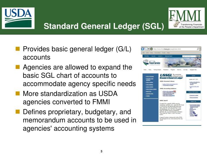 Standard general ledger sgl