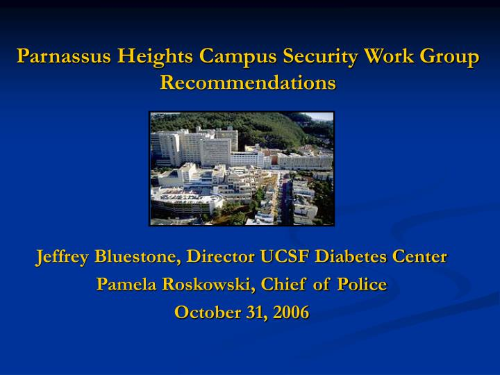 parnassus heights campus security work group recommendations