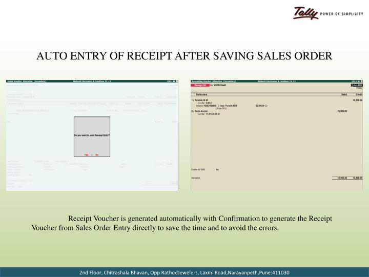 Auto Entry of Receipt after Saving Sales Order