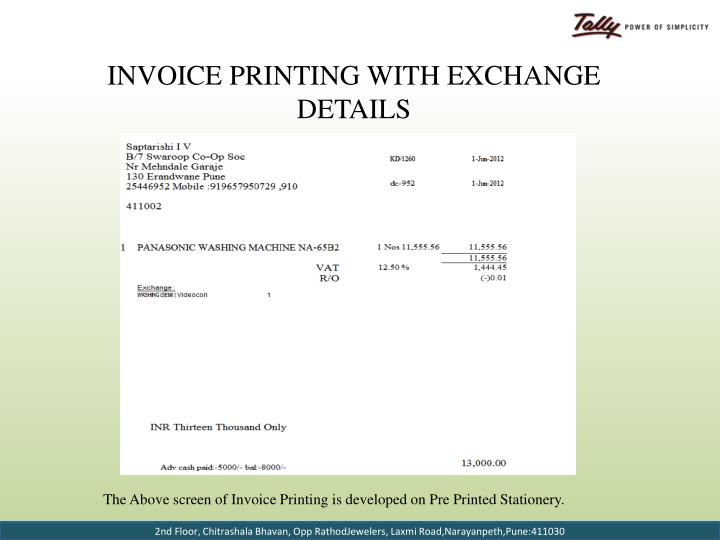 Invoice Printing with Exchange Details