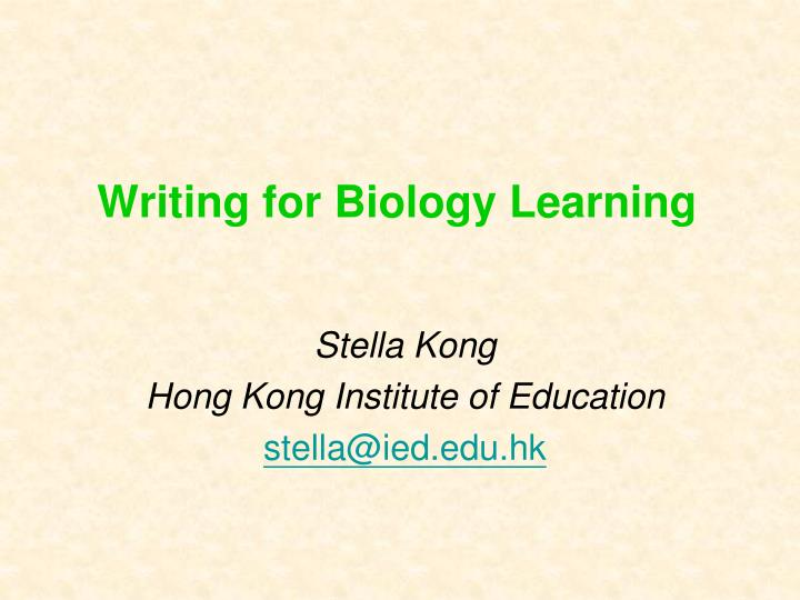 writing for biology learning n.