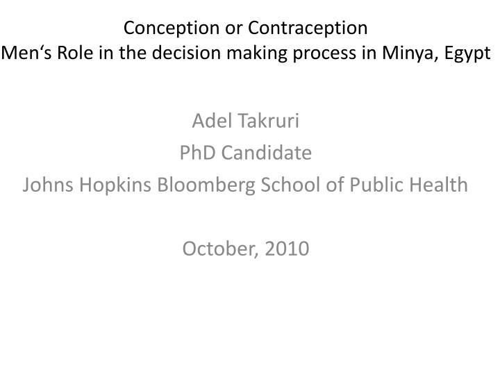 conception or contraception men s role in the decision making process in minya egypt n.