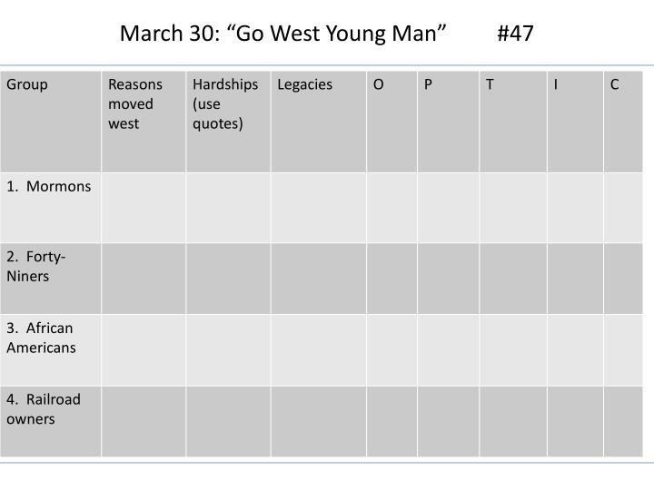 """March 30: """"Go West Young Man""""         #47"""
