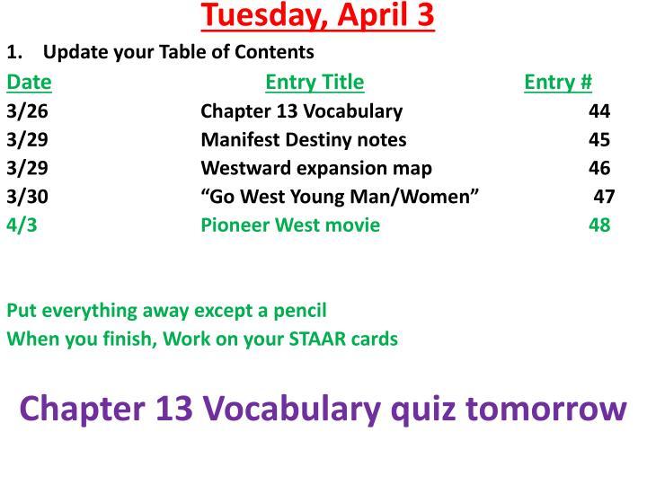 Tuesday april 31