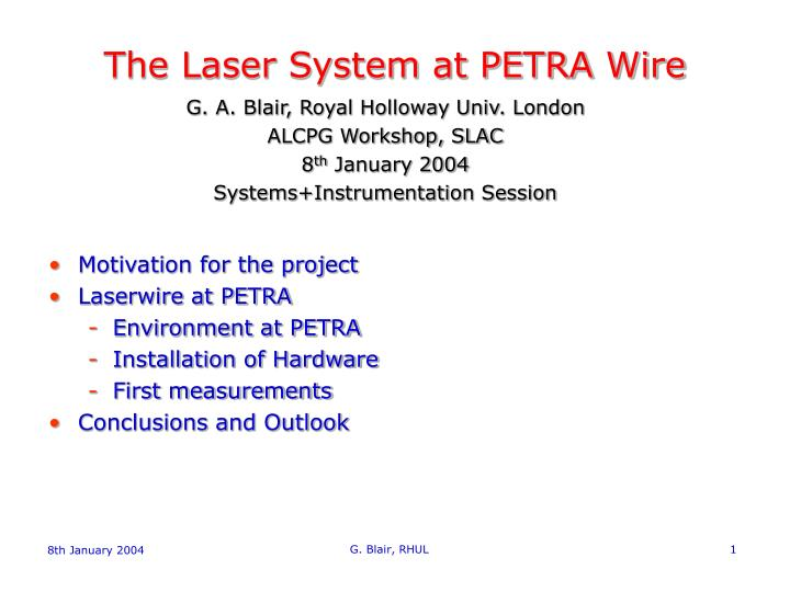 the laser system at petra wire n.